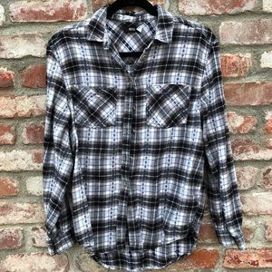BDG urban outfitters black & white flannel shirt